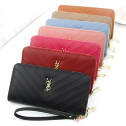 New Fashion Casual Women's Clutch Handbag Leather Long Walle