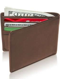 New Genuine Leather Wallets For Men Slim Minimalist Bifold W