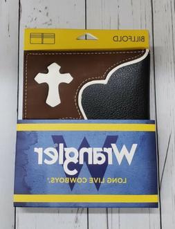 New Men's Wrangler Billfold Wallet Brown Black White Cross W