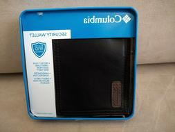 New Men's Black Leather Columbia Security Wallet