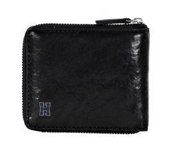 New Tommy Hilfiger Men's Rfid Zip Around Black Leather Bifol