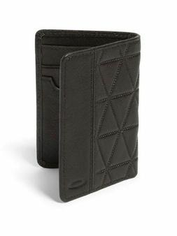 New Mens Oakley Leather Slim Wallet NWT Jet Black $80 Retail