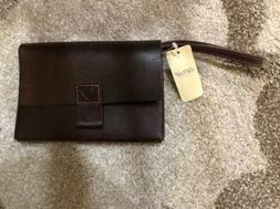 New! Aerie pink threaded Heart Genuine  brown leather mini c