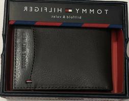 New Tommy Hifilger Men's Leather Billfold Wallet Brown Color