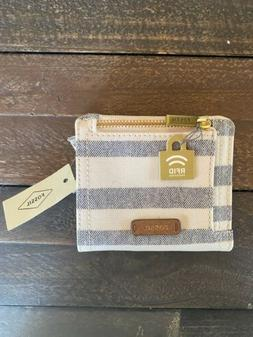 New with Tags, Fossil Logan RFID Small Bifold in Blue Stripe