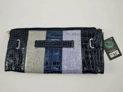 NEW! Womens Multi-Colored Croc Print Faux Leather Clutch Pur