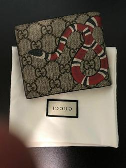 NEW100% GUCCI Men's Canvas&Leather Bifold Card Case Wallet