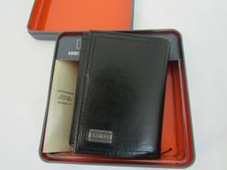 NWT DOckers black color coated leather shell trifold wallet