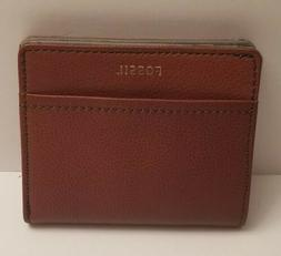 NWT Fossil medium brown color bifold snap closing mini walle