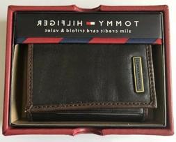 $28 NWT Tommy Hilfiger Men's Leather Slim Credit Card Trifol