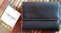 NWT Cherokee Simple Black Pebbled Leather Trifold Women's Wa