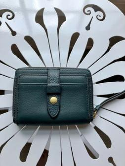 NWT FOSSIL Women's Fiona Leather Zip Around Coin Wallet Indi