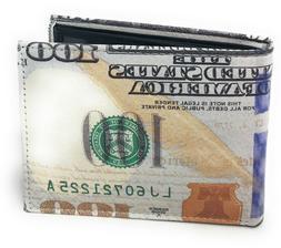 USA 100 Dollar Bill Print Men's Genuine Leather Bifold Novel