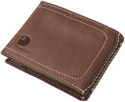 New CARHARTT Passcase Bifold Wallet Brown Full Grain Leather
