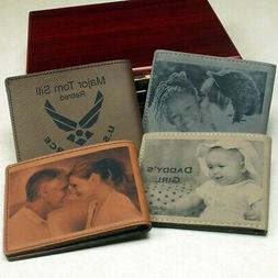 Personalized Bi-fold Wallet In Tan Or Brown Leatherette Engr