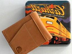 CARHARTT Pocket Passcase Bifold Cognac Leather Wallet Credit
