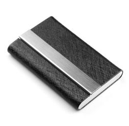 PU Leather Pocket Card Holder Metal Business ID Credit Card