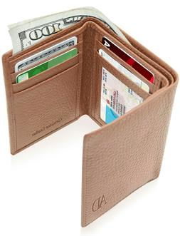 Real Leather Slim Wallets For Men Trifold Mens Wallet W/ ID
