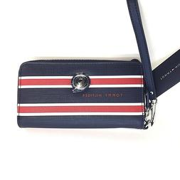 Tommy Hilfiger Red Blue Striped Saffiano Large Double Zip Wr