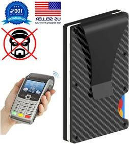 RFID Blocking Carbon Fiber Minimalist Ridge Money Clip Front