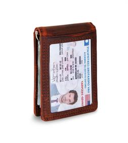 SERMAN BRandS RFID Blocking Slim Bifold Genuine Leather Mini