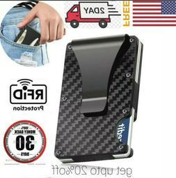 RFID Blocking Slim Money Clip Mens Carbon Fiber Credit Card