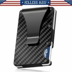RFID Blocking Wallet Mens Carbon Fiber Minimalist Pockets Mo