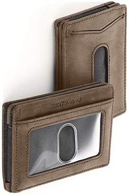 RFID Card Sleeve Wallet Premium Leather Money Clip Card Hold