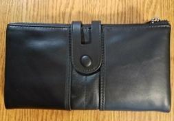 RFID Zip Women's Leather Clutch - Black NWOT