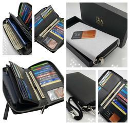 AG Wallets Women's RFID Blocking Leather Zip Around Wallet C