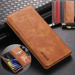 For Samsung Galaxy Note 9 S9 S8 Plus S7 Magnetic Leather Fli