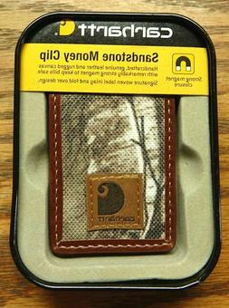 Carhartt Sandstone Money Clip Rugged Canvas & Leather Secure