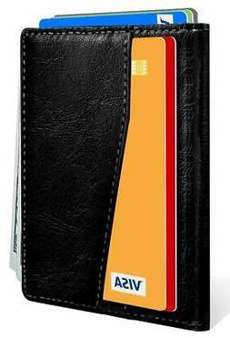 Slim Bifold Wallet,Bulliant Leather Minial Wallet For Men 7S