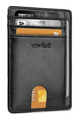 Buffway Slim mini ID holder card case front pocket Leather W