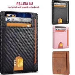 Slim Minimalist Front Pocket RFID Blocking Leather ID Card W