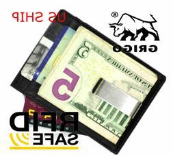 Money Clip Men's Slim Black Leather Wallet Card Holder  Tan