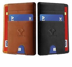 Slim Wallet 2 Units Gift boxed,Bulliant Minimalist Front Poc