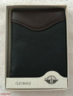 DOCKERS SLIMFOLD Men's Leather Wallet Bi Fold Black 5581