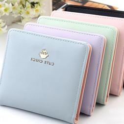 Small Wallets for Women Bifold Leather Short Wallet Mini Pur