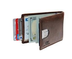 RFID Blocking Slim Genuine Leather Minimalist Front Pocket W