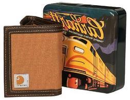 CARHARTT Trifold Passcase ID & Card WALLET Canvas Duck Brown