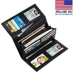 Women Wallets Trifold Genuine Leather RFID Blocking Large Ca