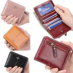 US FAST Women Small Bifold Leather Wallet Mini Zipper Coin P
