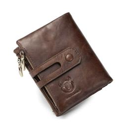 USA Bullcaptain Mens Wallet Genuine Leather Purse RFID Coins