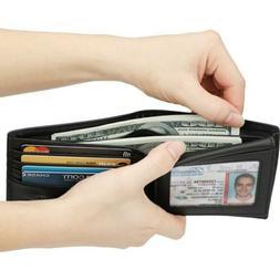 Wallet for Men Faux Leather Double Billfold Black Wallet New