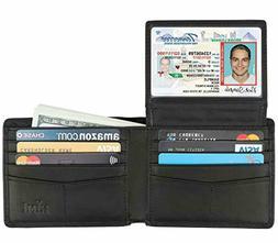 Wallet for Men Genuine Leather RFID Blocking Secure Bifold W