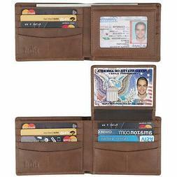 Wallet for Men Genuine Leather RFID Blocking Bifold Wallet W