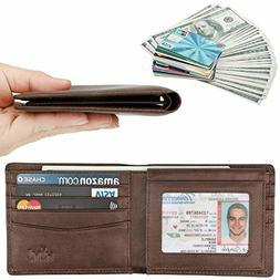 Wallet for Men-Genuine Leather RFID Blocking Bifold Stylish