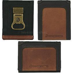 Carhartt Wallet Men Billfold Trifold Genuine Leather Black/T