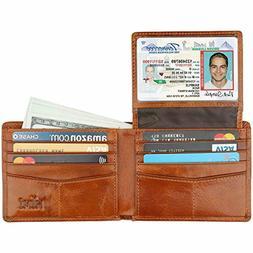 HIMI Wallet Men Genuine Leather RFID Blocking Bifold 2 ID Wi